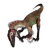 3D illustration dinosaur utahraptor on white