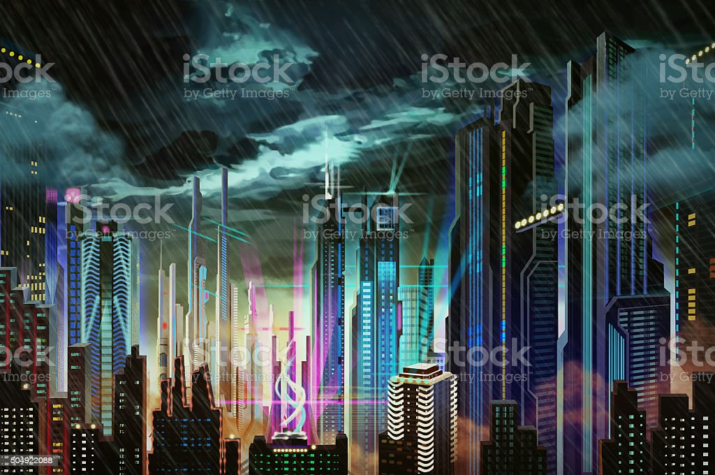 Illustration: Dismal Dark Rainy Futuristic City. stock photo