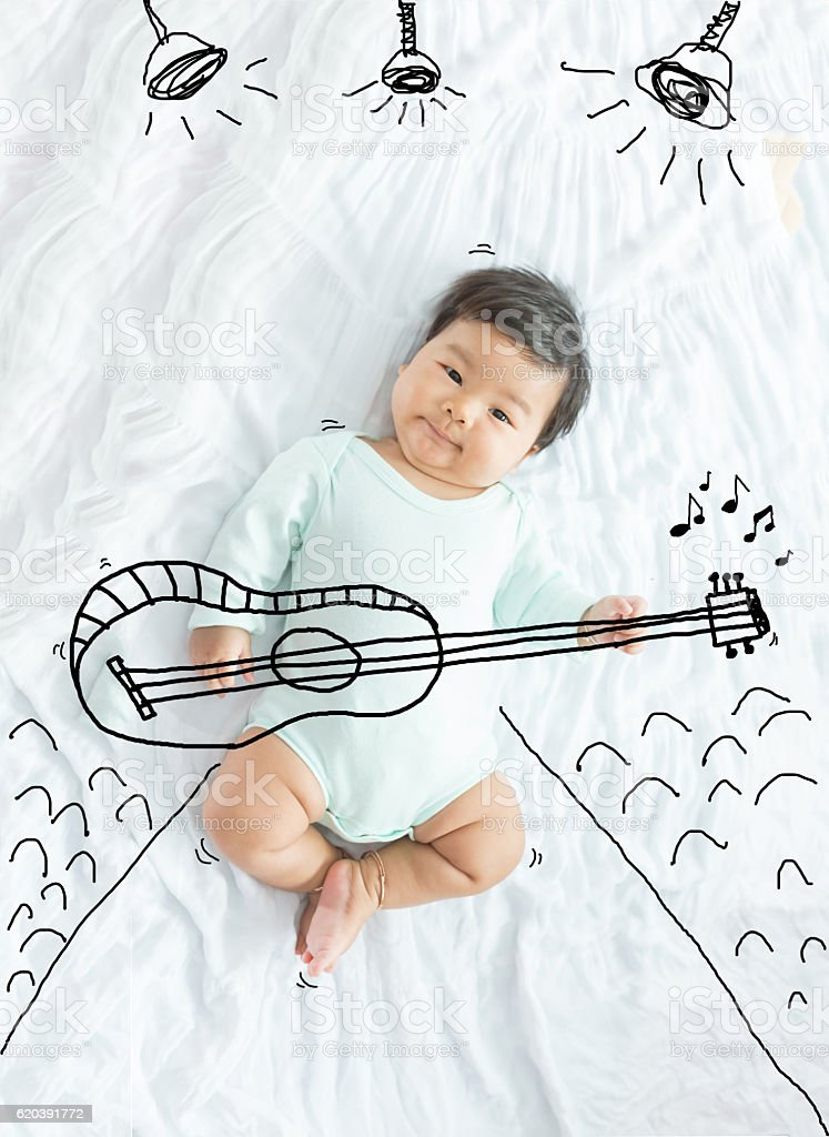 illustration draw on baby girl is musician playing guitar. stock photo