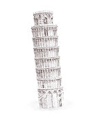 Illustration drawing pencil sketching structure Leaning Tower of Pisa Italy, hand drawn, sketch isolated on white. Watercolor chinese historical showplace for print, souvenirs, postcards, t-shirts, decoration, picture.