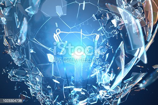 istock 3D Illustration Exploding light bulb on a blue background, with concept creative thinking and innovative solutions. 1023304738