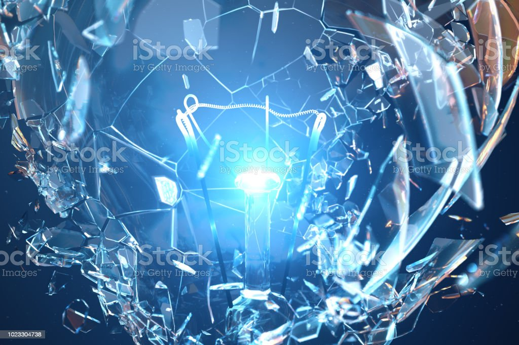 3D Illustration Exploding light bulb on a blue background, with concept creative thinking and innovative solutions. stock photo