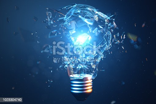 3D Illustration Exploding light bulb on a blue background, with concept creative thinking and innovative solutions