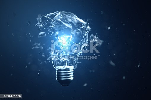 istock 3D illustration Exploding light bulb on a blue background, with concept creative thinking and innovative solutions. 1023304776