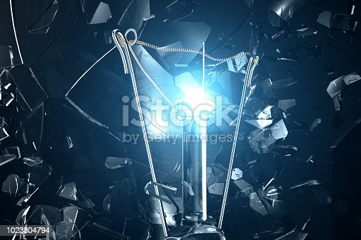 1015604922 istock photo 3D illustration Exploding light bulb on a blue background, with concept creative thinking and innovative solutions. 1023304794