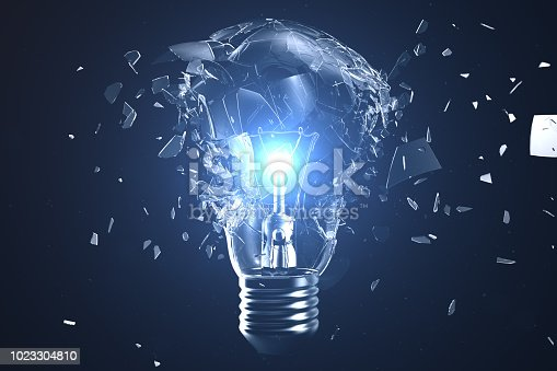 1015604922 istock photo 3D illustration Exploding light bulb on a blue background, with concept creative thinking and innovative solutions. 1023304810
