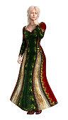 3D illustration fairy tale princess on white