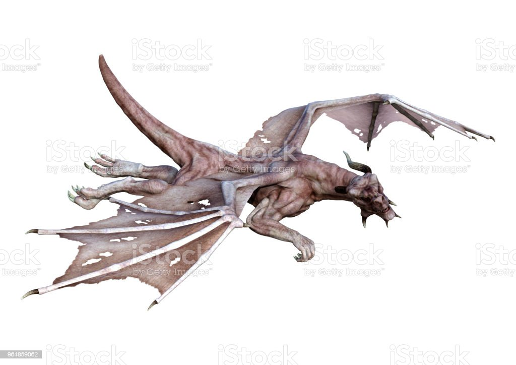 3D illustration fairy tale vampire dragon on white royalty-free stock photo