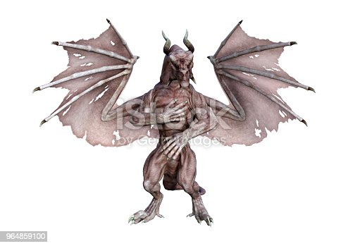 3d Illustration Fairy Tale Vampire Dragon On White Stock Photo & More Pictures of Animal