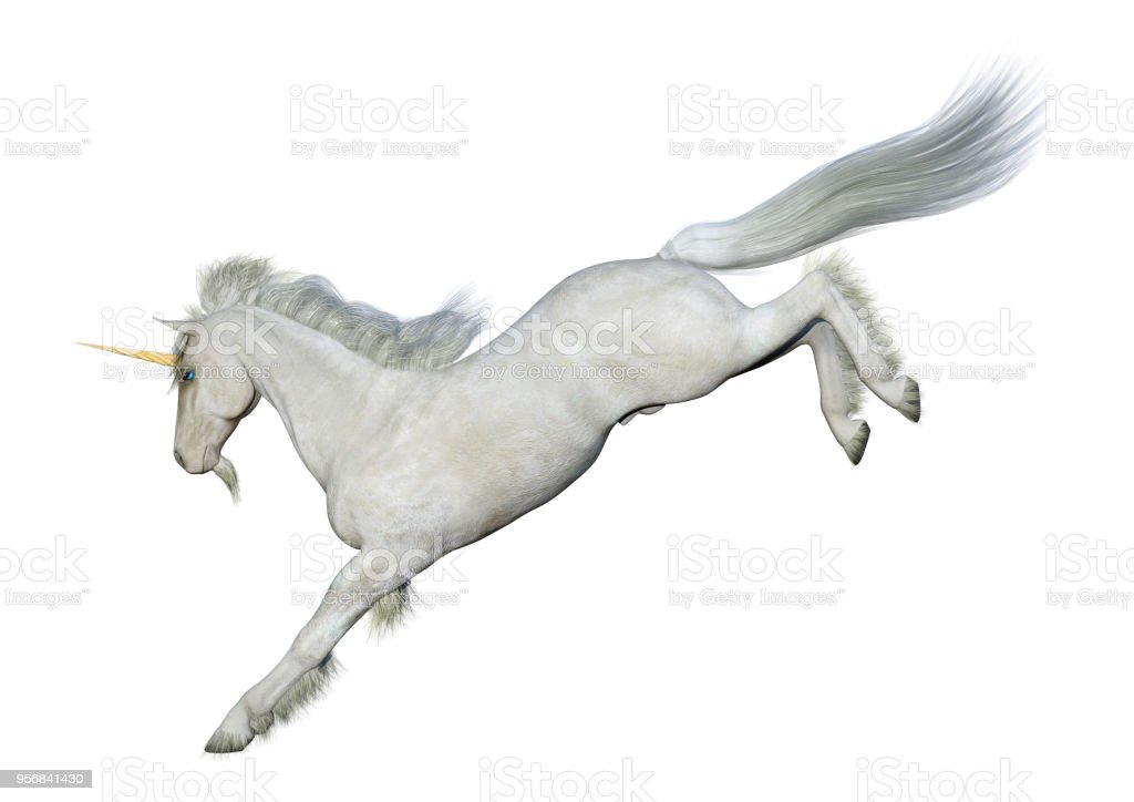 3D illustration fairy tale white unicorn isolated on white on white stock photo