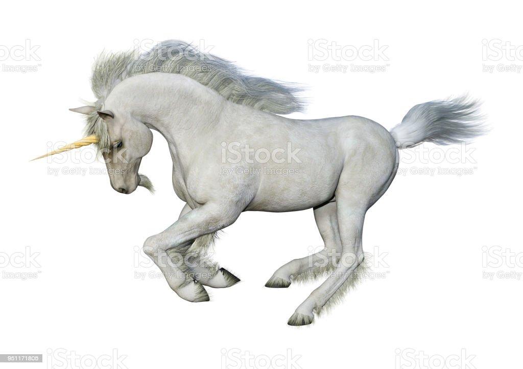 3D illustration fairy tale white unicorn on white stock photo