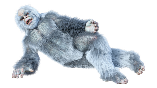 3D illustration fantasy creature yeti on white