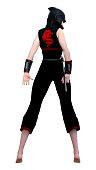 3D illustration female ninja on white