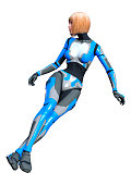 3D illustration female robot on white