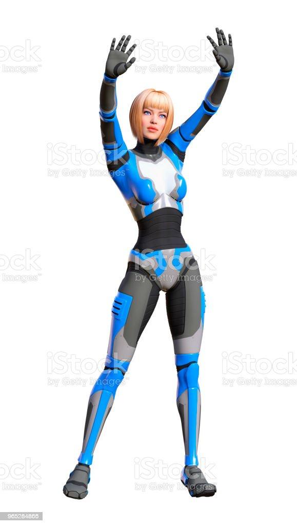 3D illustration female robot on white royalty-free stock photo