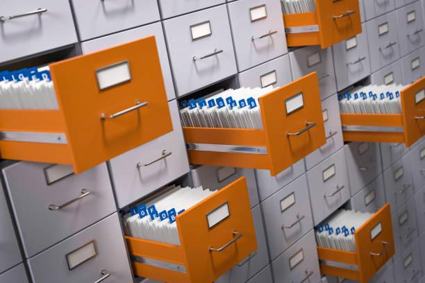 3d illustration filing cabinet with customer data - organizzatore elettronico foto e immagini stock