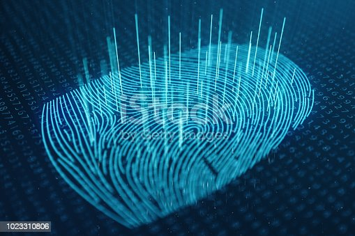 istock 3D illustration Fingerprint scan provides security access with biometrics identification. Concept Fingerprint protection. Finger print with binary code. Concept of digital security 1023310806