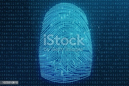 istock 3D illustration Fingerprint scan provides security access with biometrics identification. Concept Fingerprint protection. Finger print with binary code. Concept of digital security 1023310810