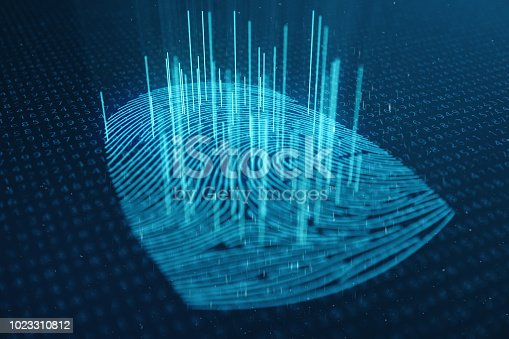 istock 3D illustration Fingerprint scan provides security access with biometrics identification. Concept Fingerprint protection. Finger print with binary code. Concept of digital security 1023310812