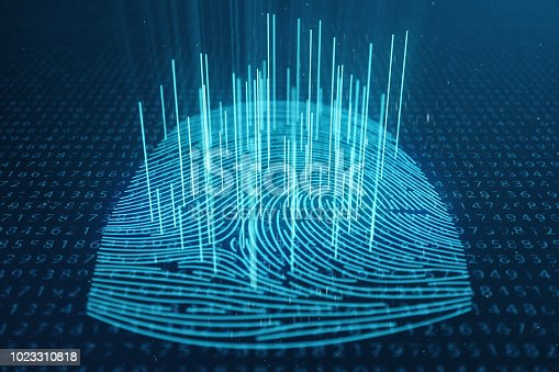istock 3D illustration Fingerprint scan provides security access with biometrics identification. Concept Fingerprint protection. Finger print with binary code. Concept of digital security 1023310818