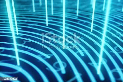 istock 3D illustration Fingerprint scan provides security access with biometrics identification. Concept Fingerprint protection. Finger print with binary code. Concept of digital security 1023310822