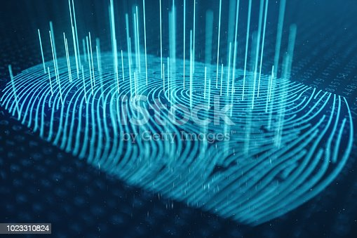 istock 3D illustration Fingerprint scan provides security access with biometrics identification. Concept Fingerprint protection. Finger print with binary code. Concept of digital security 1023310824