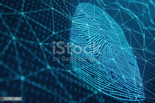 istock 3D illustration Fingerprint scan provides security access with biometrics identification. Concept Fingerprint protection. Finger print with binary code. Concept of digital security 1023310832