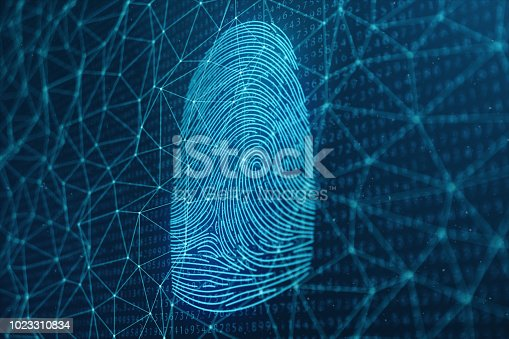 istock 3D illustration Fingerprint scan provides security access with biometrics identification. Concept Fingerprint protection. Finger print with binary code. Concept of digital security 1023310834