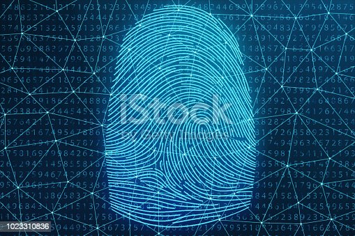 istock 3D illustration Fingerprint scan provides security access with biometrics identification. Concept Fingerprint protection. Finger print with binary code. Concept of digital security 1023310836