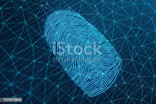 istock 3D illustration Fingerprint scan provides security access with biometrics identification. Concept Fingerprint protection. Finger print with binary code. Concept of digital security 1023310840
