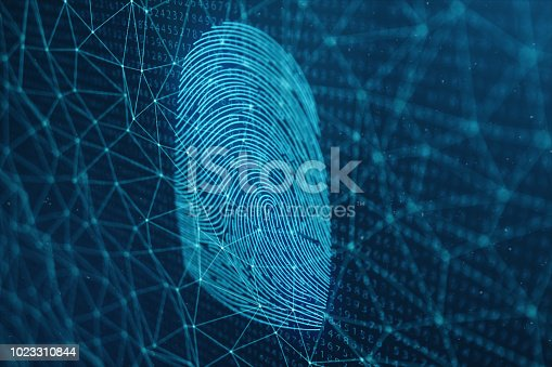 istock 3D illustration Fingerprint scan provides security access with biometrics identification. Concept Fingerprint protection. Finger print with binary code. Concept of digital security 1023310844
