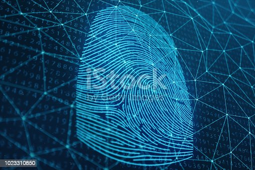 istock 3D illustration Fingerprint scan provides security access with biometrics identification. Concept Fingerprint protection. Finger print with binary code. Concept of digital security 1023310850