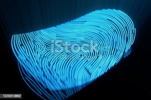 istock 3D illustration Fingerprint scan provides security access with biometrics identification. Concept Fingerprint protection.Curved fingerprint. Concept of digital security 1023310862