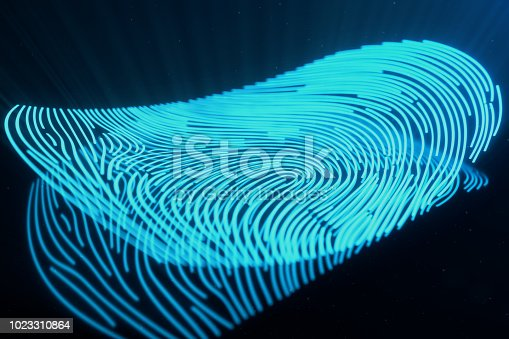 istock 3D illustration Fingerprint scan provides security access with biometrics identification. Concept Fingerprint protection.Curved fingerprint. Concept of digital security 1023310864