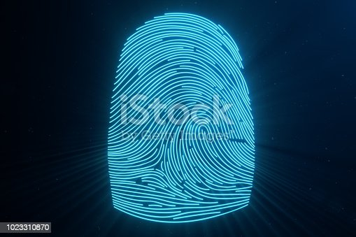 istock 3D illustration Fingerprint scan provides security access with biometrics identification. Concept Fingerprint protection.Curved fingerprint. Concept of digital security 1023310870