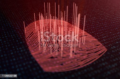1139539130 istock photo 3D illustration Fingerprint scan provides security access with biometrics identification. Concept fingerprint hacking, threat. Finger print with binary code. Concept of digital security. 1139533198