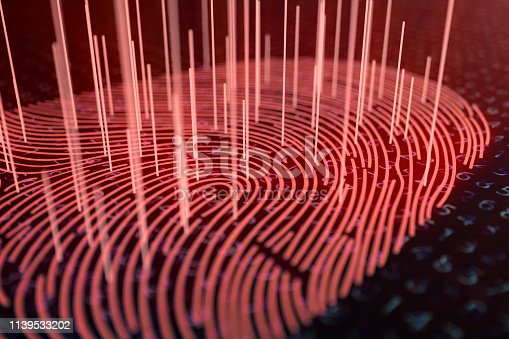 1139539130 istock photo 3D illustration Fingerprint scan provides security access with biometrics identification. Concept fingerprint hacking, threat. Finger print with binary code. Concept of digital security. 1139533202