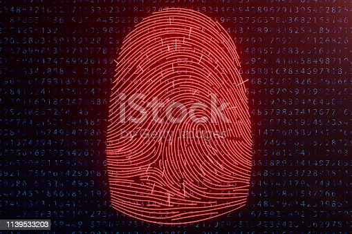 1139539130 istock photo 3D illustration Fingerprint scan provides security access with biometrics identification. Concept fingerprint hacking, threat. Finger print with binary code. Concept of digital security. 1139533203