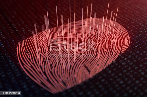 istock 3D illustration Fingerprint scan provides security access with biometrics identification. Concept fingerprint hacking, threat. Finger print with binary code. Concept of digital security. 1139533204