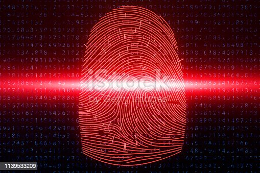 1139539130 istock photo 3D illustration Fingerprint scan provides security access with biometrics identification. Concept fingerprint hacking, threat. Finger print with binary code. Concept of digital security. 1139533209