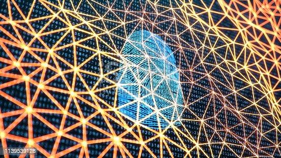 1139539130 istock photo 3D illustration Fingerprint scan provides security access with biometrics identification. Concept Fingerprint protection. Finger print with binary code. Concept of digital security 1139539128