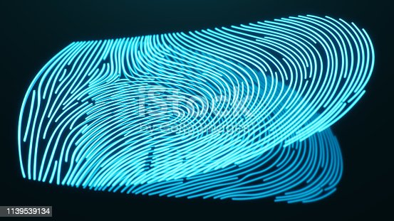 istock 3D illustration Fingerprint scan provides security access with biometrics identification. Concept Fingerprint protection. Finger print with binary code. Concept of digital security 1139539134