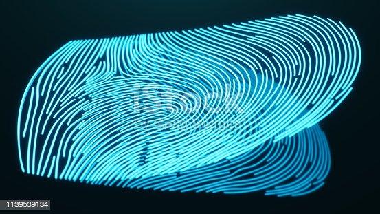 1139539130 istock photo 3D illustration Fingerprint scan provides security access with biometrics identification. Concept Fingerprint protection. Finger print with binary code. Concept of digital security 1139539134