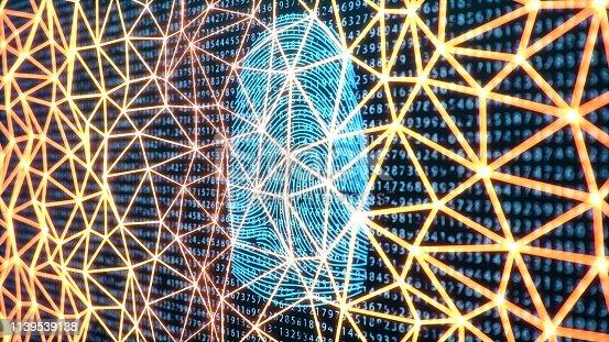 1139539130 istock photo 3D illustration Fingerprint scan provides security access with biometrics identification. Concept Fingerprint protection. Finger print with binary code. Concept of digital security 1139539138