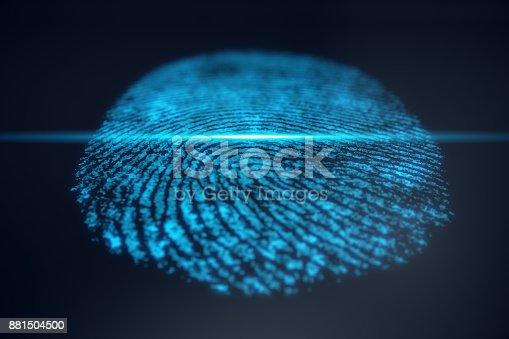 istock 3D illustration Fingerprint scan provides security access with biometrics identification. Concept Fingerprint protection. 881504500