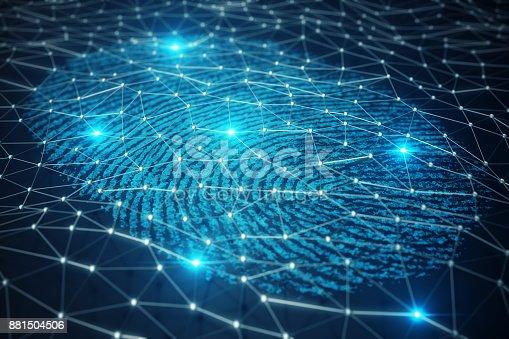 istock 3D illustration Fingerprint scan provides security access with biometrics identification. Concept Fingerprint protection. 881504506