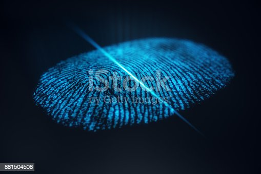 istock 3D illustration Fingerprint scan provides security access with biometrics identification. Concept Fingerprint protection. 881504508
