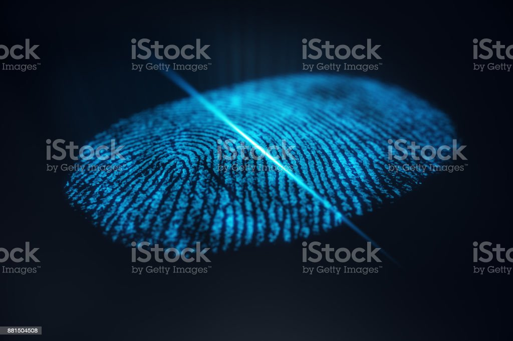 3D illustration Fingerprint scan provides security access with biometrics identification. Concept Fingerprint protection. stock photo