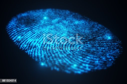 istock 3D illustration Fingerprint scan provides security access with biometrics identification. Concept Fingerprint protection. 881504514
