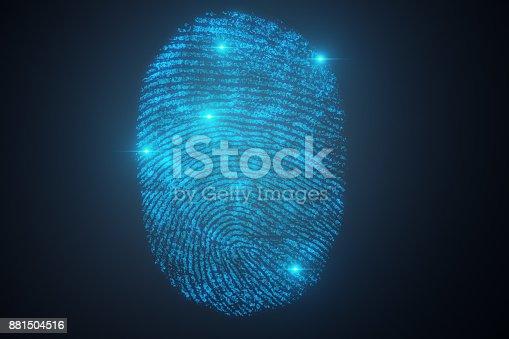 istock 3D illustration Fingerprint scan provides security access with biometrics identification. Concept Fingerprint protection. 881504516